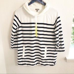 Talbots Cowl Neck Striped Pullover Sweater